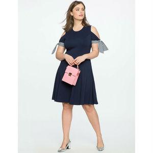 NWT eloquii 22 cold shoulder tie sleeve dress NEW